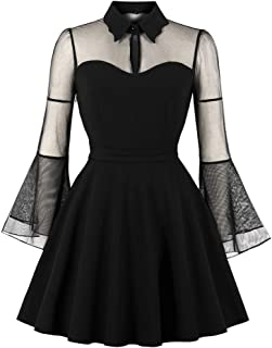 Gergeos Vintage Rockabilly Dresses Women Mesh Patchwork Bell Sleeve Solid Gothic Punk Party Swing Dress