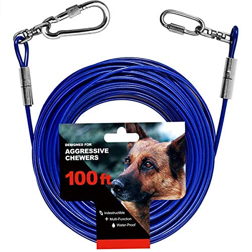Tie Out Cable for Large Dog, 100ft Dog Runner for Yard, 30/40/50ft Dog Run Leash Heavy Duty Swivel Hooks Heavy Duty Lead Steel Wire Dog Chain Dog Leash Cable Perfect for The Yard, Camping, Beach