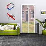 MODKOY Insektenschutz Tür Vorhang 185x215cm, Magnetische Adsorption Faltbar Auto Schließen, Einfach zu montieren Ohne Bohren, Luft kann frei strömen, für TerrassentüRen Balkontür Weiß