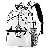 Mochila de viaje con diseño de jaula de pájaros y silueta para la escuela, mochila informal para mujeres, adolescentes y niñas