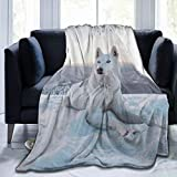KUOAICY White Husky Dog Wolf Fleece Throw Blanket Soft Bed Couch Sofa Blankets, 60'' X 50''