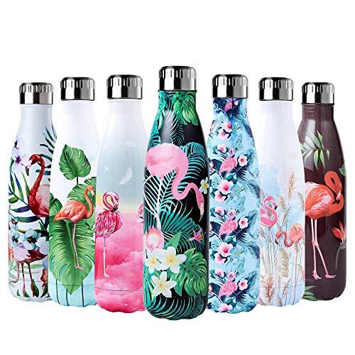 Enlifety Trinkflasche Edelstahl 500ml, Vakuum Wasserflasche Doppelwandige Thermosflasche, Trinkflasche Isolierflasche BPA Frei Sportflasche für Kinder, Fahrrad, Wandern und Camping - Flamingo