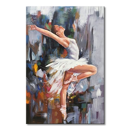 Canvas Wall Art Girl Dancer Hand Painted Oil Painting Modern Ballet Dancing Abstract White Skirt Artwork Decor Framed Home for Living Room Stretched