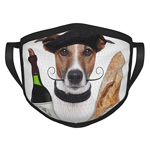 French Dog Wine French Baguette Beret Animal Face Masks Washable Reusable Safety Masks Protection from Dust Pollen Pet Dander Other Airborne
