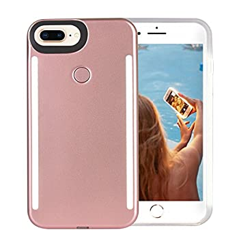 Wellerly iPhone 8 Plus Case iPhone 7 Plus Case iPhone 6/6s Plus Case LED Illuminated Selfie Light Up [Rechargeable] Luminous Flashlight Cellphone Case Cover for iPhone 8/7 / 6/6s Plus -Rose Gold