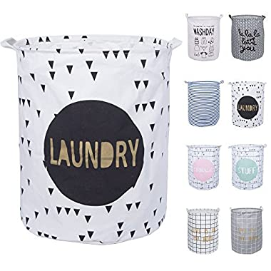 DOKEHOM DKA0818BKL 19.7  Large Waterproof Round Cotton Linen Laundry Storage Basket, Available in 8 Colors (Black, L)