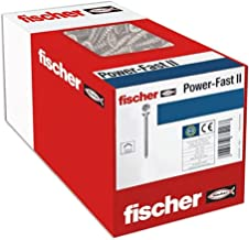 fischer 50 x spaanplaatschroef Power-Fast II 5,0x20, verzonken kop met kruiskop volledige draad galvanisch verzinkt, blauw...