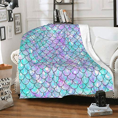 """Palileyya Dreamlike Mermaid Fish Scale Flannel Throw Blanket, Ultra Soft Lightweight Microfiber Fleece Blanket Perfect for Couch Sofa Or Bed S 50""""X40"""""""