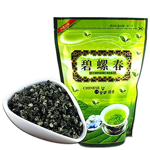 FullChea - BiLuoChun Tea - Bi Luo Chun Green Tea - Chinese Green Tea Loose Leaf - Toasty Bean Aromatic - Calming Tea (17.6oz/ 500g)