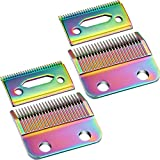 2 Sets Adjustable Clippers Blades, 2 Hole Hair Trimmer Replacement Blade for Wahl 1006, Super Taper #8400 (Colorful)