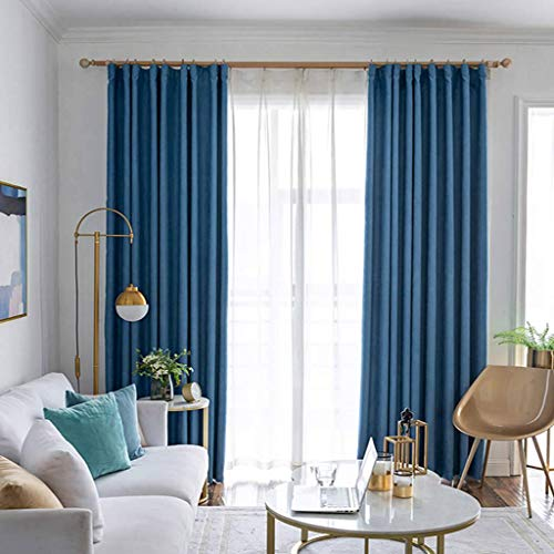 ILMF Soft Curtain, Thermal Insulated Blackout Thicken Room Darkening Window Drapes Pencil Pleat Drapery Great for Nursery Bedroom Living Room-138inchx106inch-D