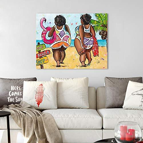 Muurschildering op canvas vrouw in bikini foto op het strand print woondecoratie frameloze schilderij 30x40cm
