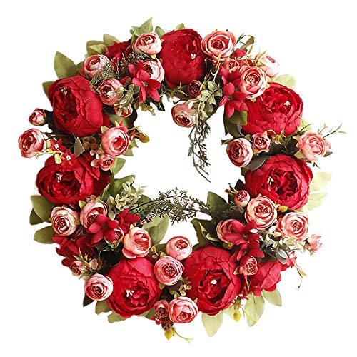Basage Guirnalda de PeoníA Guirnalda de Flores Rosas Guirnalda de Flores Artificiales Guirnalda de Puerta Delantera para ExhibicióN de Guirnaldas de Primavera y Verano