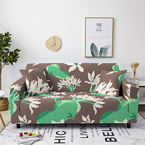 Universal Sofa Cover Spandex Stretch Couch Slipcover Simple Green Leaf Pattern Tight Fitted Armchair Loveseat Settee Cover 1/2/3/4 Seater Sofa Protector,3,seater 190,230cm