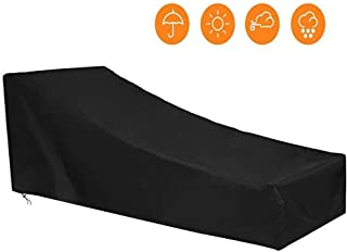 WY-Tarpaulin Furniture Covers Oxford Cloth Courtyard Lounge Chair Dust-Proof Greenhouse Slipcover Sunscreen Waterproof Multi-Size Support Options(Color : Black, Size : 208x76x41-79cm)