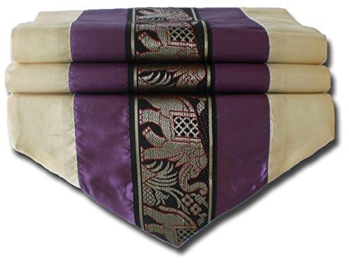 Sticksquare - Chemin de table en soie thaï - Motif éléphants - Crème et violet - Pour la cuisine, le salon - Dimensions : 150 x 30 cm