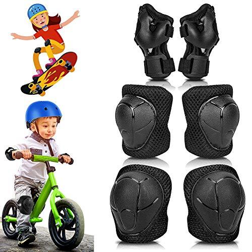Conjuntos de Protección Niño, 6 en 1 Conjuntos Protección Deportes, Set Rodilleras de Ajustable Coderas y Muñequeras Conjunto de Equipo de Protección, Utilizado para Patinaje en Bicicleta Patinetas