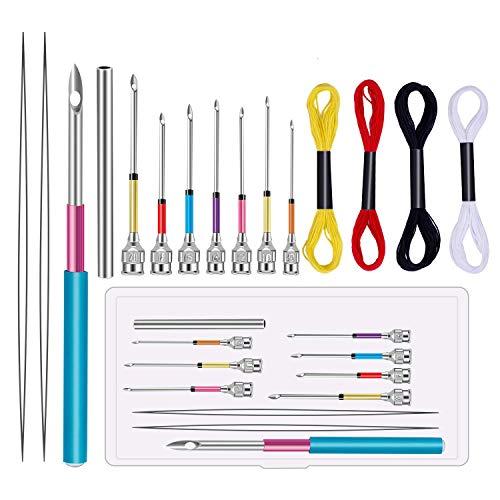 Ka Mai Ka - Juego de 8 agujas de bordado con 4 madejas de hilos de colores para bordado,...