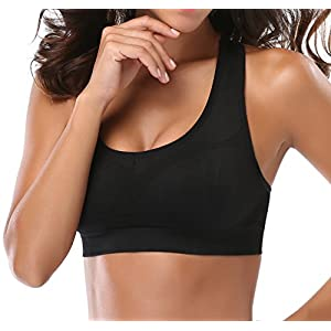MIRITY Women Racerback Sports Bras - High Impact Workout Gym Activewear Bra Color Black Grey Size S