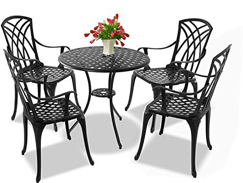Centurion Supports OSHOWA Garden & Patio Table & 4 Large Chairs with Armrests Cast Aluminium Bistro Set - Black