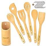 HAP-KIT Bamboo Cooking Utensils 14pcs - Wooden Kitchen Utensil Set of 6 with Hanging Holes, Holder,...