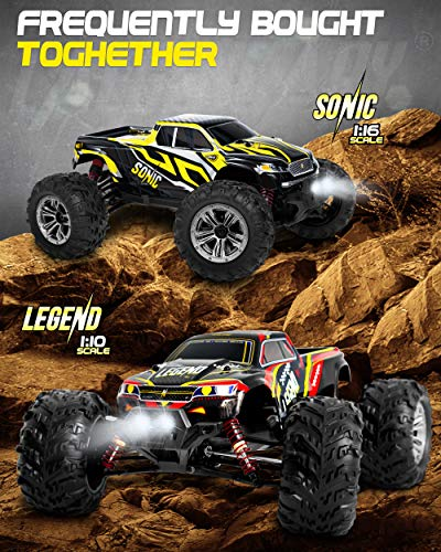 1:16 Scale Large RC Cars 40+ kmh Speed - Boys Remote Control Car 4x4 Off Road Monster Truck Electric - Hobby Grade Waterproof Toys Trucks for Kids and Adults - 2 Batteries + Connector for 40+ Min Play