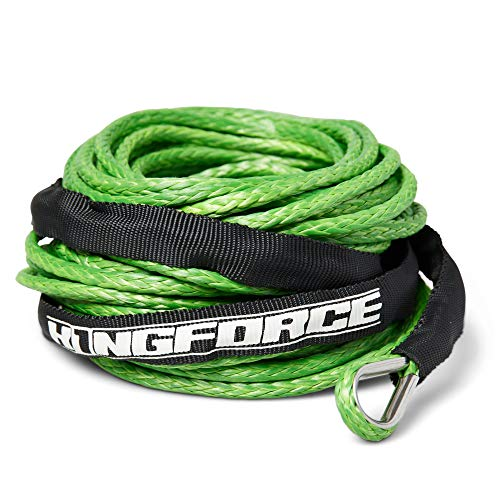 K1NGFORCE Synthetic Winch Rope 50 ft 3/16' - Off Roading ATV, Motorcycle, Truck, Car - 8200lb Strength - Mud, Snow, Heat - Nylon Sleeve - Heat/UV Treated - Lime Green