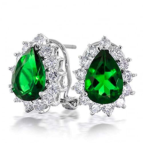 Classic Vintage Style Cocktail Wedding Party 2.5CT Green Emerald Simulated AAA CZ Halo Pera Shaped Teardrop Stud Pendientes para mujeres Omega Back Silver Plated