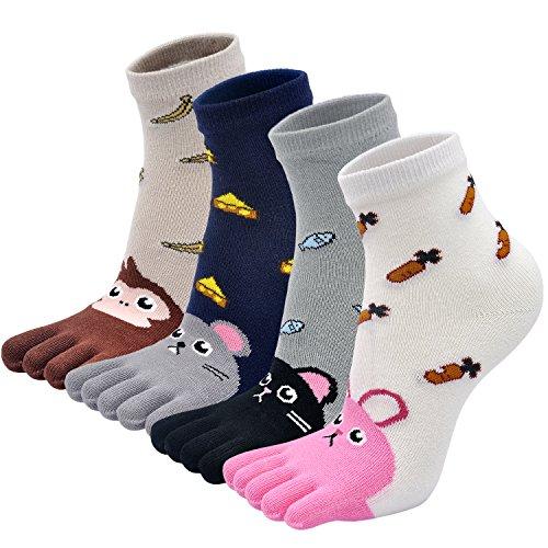 PUTUO Zehensocken Kinder Finger Socken aus Baumwolle, Junge/Mädchen Witzige Socken Karikatur Socken Niedliche Tiere Socken Bunt Muster Sneaker Socken, 3-7 Jahre = EU (21-27), Mehrfarbig-2