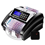 MVPower Banknote Counter, Automatic Counting and Self-Checking, Counterfeit Alarm Quadruple Detection Counterfeit Banknotes IR / MG / MT / UV + 2D, LCD color changing screen