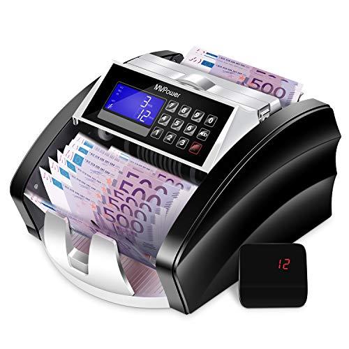 MVPower Geldzählmaschine Banknotenzähler: automatische Zählung und Selbstprüfung, genaue Erkennung mit UV/MG/IR/MT/DD Erkennung, farbwechselbare LCD-Anzeige, Fälschungsalarm