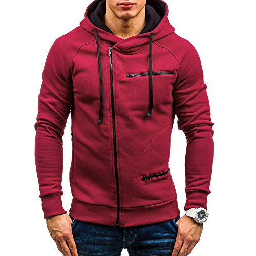 MRULIC Herren New Slim Fit Halfzip Jacke Kapuze Hoodie Sweatshirt Kapuzenpullover RH-004(Rot,EU-46/CN-L)