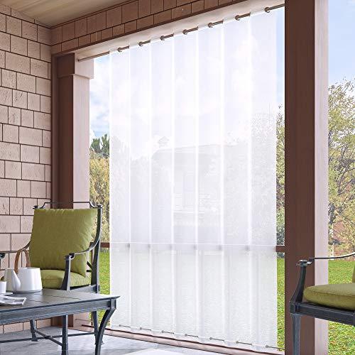 Clothink Outdoor Vorhänge Extra Breit 254x215cm mit Ösen (1 Stück) Oben(ID:4cm)+Unten(ID:1,6cm) Weiss Winddicht Wasserabweisend Sichtschutz Sonnenschutz UVschutz