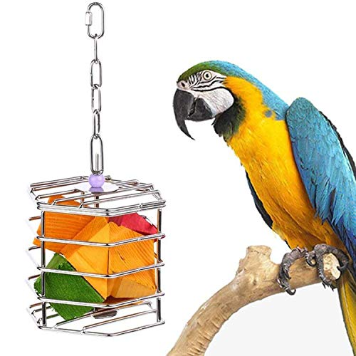 KINTOR Baffle Cage,Parrot Stainless Steel Foraging Toy for African Grey Amazon Cockatoos Eclectus Large Conures Macaw (Large)