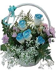 Rosas azules naturales a domicilio en cesta con gastos de envio y nota dedicatoria incluidos en el precio.