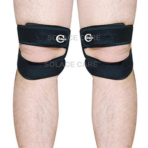 Solace Care Advance Neopreen Kniebrace Wraparound - Verstelbare compressie Runners Kniebandondersteuning - Advance Neopreen Patella Tendon Kniewikkel - Quad Alignment, Iliotibial & Syndroom Band - Kniepijn - Hardlopen, Springen, Outdoors Sports - Voor mannen en vrouwen - KNEE SUPPORT PAIR