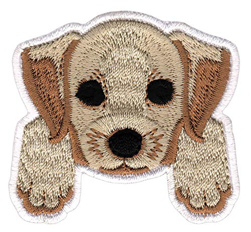 Bestellmich Hund Welpen Labrador Aufnäher Bügelbild Patch Applikation Größe 5,9 x 5,6 cm