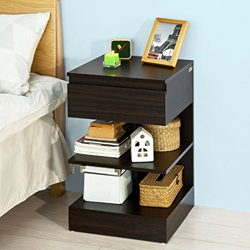SoBuy® Mesita de noche con 1 cajon y 2 estantes, Consola, Mesa auxiliar para salon comedor,FBT49-BR,ES (Marron)