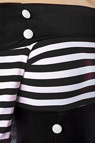 Schulterfreies Vintage-Kleid mit dekorativen Knöpfen und kurzen Ärmeln (Schwarz/Weiß/Stripe, Gr. M) - 4