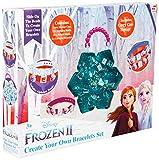 Disney Frozen 2 Juego para Crear Tus Propias Pulseras El Reino del Hielo Anna Elsa, Kit de Manualidades Niña Colgantes de Alfabeto, Incluye Abalorios Hilos para Hacer Pulseras, Regalo para Niñas