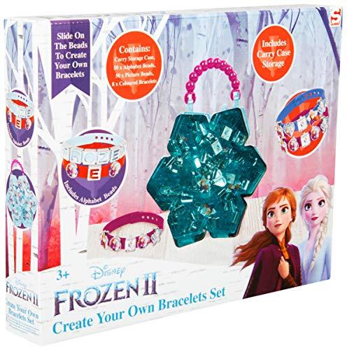 Disney Frozen 2 Giochi Creativi con Perline per Braccialetti, Kit Gioielli Fai da Te per Bambini con Personaggi Frozen Anna ed Elsa, Giocattoli Fai da Te Creativo Bimba, Regalo Bambina da 3 Anni