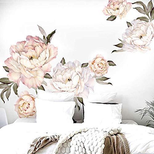 DLYD Pfingstrose Blumen Wandaufkleber Vintage Pfirsich Aquarell Pfingstrose Wohnzimmer Dekoration Dekoration wandkunst für Schlafzimmer 100 cm x 100 cm