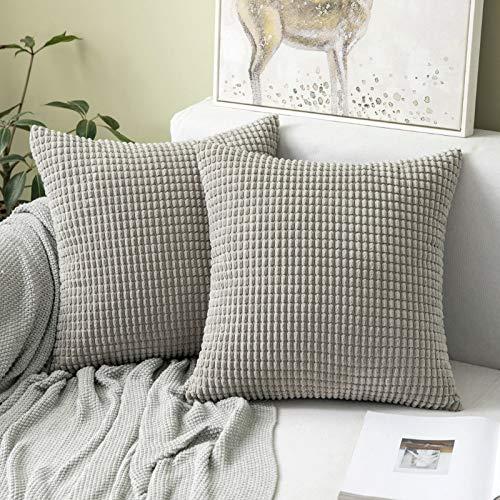 MIULEE 2er Set Kordsamt Soft Solid Dekorative Quadrat Wurf Kissenbezüge Set Kissen Fall für Sofa Schlafzimmer 24 x 24 inch 60 x 60 cm Big Corn Hellgrau