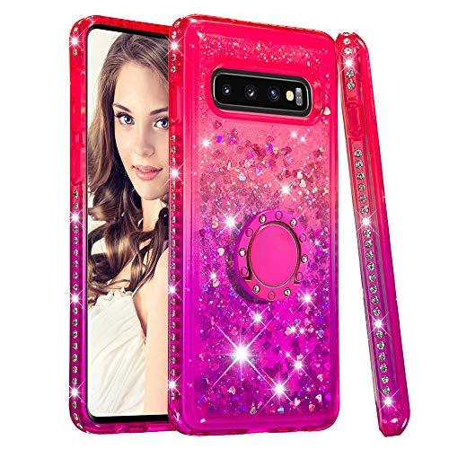 CrazyLemon Hülle for Samsung Galaxy S10 Plus, Funkelnd Treibsand & Voll Side Strass Design Pink + Lila Weich Silikon TPU Handyhülle mit Ringhalter