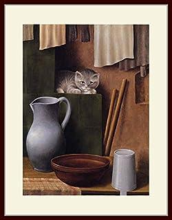 シュリンプフ・「猫のいる静物」 プリキャンバス複製画・ 額付き(デッサン額/大衣サイズ)