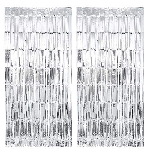 Stafih Foil Fringe Curtains Party Decorations 2PCS 8ft x 3ft Metallic Tinsel Photo Booth Backdrop for Wedding Birthday Bachelorette Christmas(Silver)