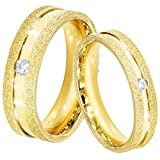 PEORA Love 18K Gold Plated Frosted CZ Solitaire Couple Ring for Men Women