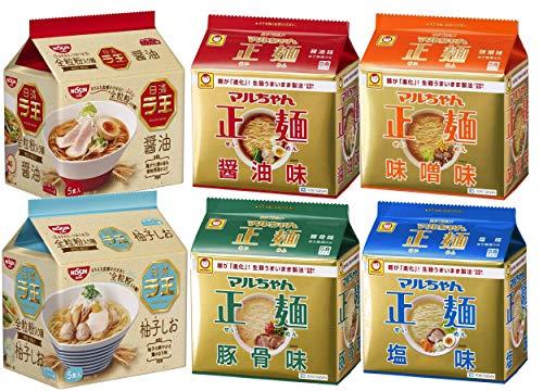 マルちゃん正麺(醤油/味噌/豚骨/塩) 4種類×5食パック各1セット(計20食)+ラ王(醤油/柚子しお) 5食パック×各1セット 計30食 食べ比べセット