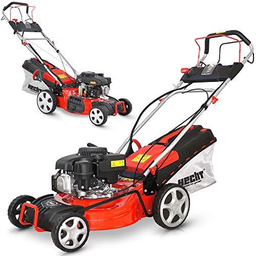 HECHT 5-IN-1 Benzin Rasenmäher – leistungsstarker 4 Takt Eco Motor 2,7 kW (3,7 PS) – Elektrostart – 46 cm Schnittbreite – bis 1200m² – Radantrieb – patentierte Räder mit Extra Grip – Mulchmäher