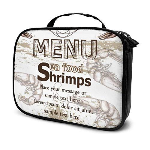 Lawenp Shrimps Sea Food Menüvorlage Line Art Make-up Zugkoffer Professionelle Reise Make-up Tasche Kosmetikkoffer Organizer Tragbare Aufbewahrungstasche für Kosmetik Make-up Pinsel Toilettenartikel R